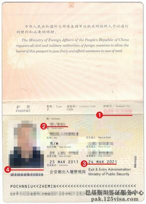 巴基斯坦签证材料护照模板